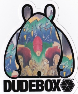 Printed out sticker of my art applied and cut to fit a DUDEBOX sticker