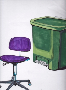chair ,waste basket